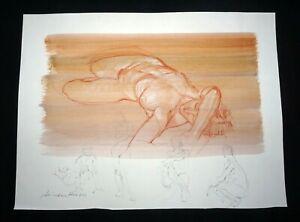 Hawaii Mixed Media Wash Painting Sleeping Female Nude Snowden Hodges(Sho)#125