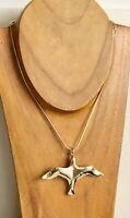 Vintage CMI Large Gold Tone Flying Seagull Pendant & Lia Sophia Chain Necklace