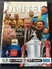 Sutton United v Arsenal 2016/17 FA Cup Programme And Teamsheet
