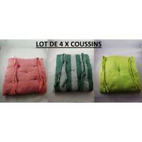 Lot 4 X Coussin Galette Dessus de Chaise 100% Coton 38 x 38 x 5 cm 3 couleurs