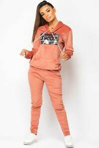 Womens J`adore Sequin Velour Tracksuit Loungewear Set Rose Pink