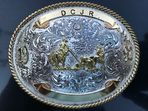 Vintage Rodeo Sterling Silver Plated Belt Buckle 1992 Montana Silversmith Cowboy