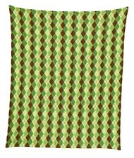 "Green & Brown Argyle Plaid Mircofleece Throw Blanket 50""x60"""
