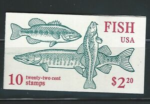 United States Sc BK154 Fish Booklet of 2 Panes of five 22c