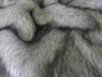 Super Luxury Faux Fur Fabric Material - LONG PILE SILVER & BLACK