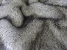Super Luxury Faux Fur Fabric Material - LONG PILE SILVER & BLACK