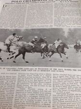 Ephemera 1975 Article Polo Greenhill Farm Win Tommy Wayman f1f