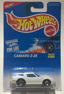 HOT WHEELS CAMARO Z-28 #504 White w/ 5 Spoke Chrome Rims New on Card 1995