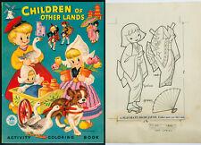"""1954 Original Line Art Paper Doll """"Children of Other Lands"""" - Japan (5661)"""