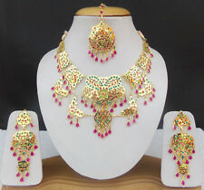 SOUTH INDIAN DULHAN JEWELRY SET ETHNIC GOLDEN BRIDAL CZ NECKLACE EARRINGS TIKKA