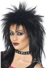 DONNA ANNI 80 80 80 Rock Diva MULLET Costume Parrucca nera Nuovo Da Smiffys