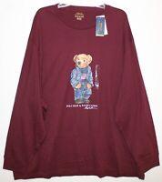 Polo Ralph Lauren Big Tall Mens 3XB Burgundy Blue Jean Bear L/S T-Shirt NWT 3XB