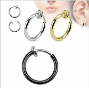 1 Pair Spring Clip On Hoop Earrings Silver Gold Black for Men Women