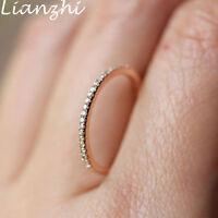 Women's White Sapphire Wedding  Ring 18K Rose/Silver Gold Jewelry Wedding Band