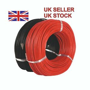 Silicone Wire Cable 6 AWG 1 Metre Each Red + Black Soft Flexible High Quality UK
