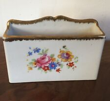 Antique Old Paris Porcelain Limoges Desk Letter Holder Box Floral Sprig Gilt