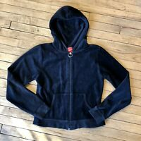Red Zone Women's Black Cotton Blend Velour Zip Hoodie With Pockets