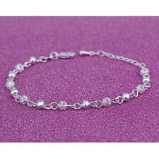 LADIES CRYSTAL BEADED ANKLET ANKLE BRACELET SILVER PLATED UK