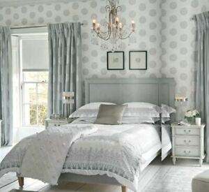 Laura Ashley Westwick Off White / Steel Wallpaper * FREE DELIVERY *