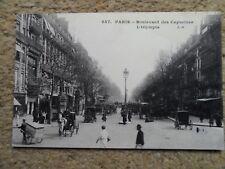 .VINTAGE. POSTCARD.PARIS-BOULEVARD DES CAPUCINES.WRITTEN.9.2.1911.CARS.