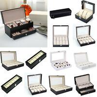 2-12Slot Grid Watch Box PU Leather Jewelry Display Cushion Storage Organize Case