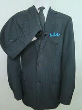 Hugo Boss Wool Nylon Blend Black Striped Two Piece Mens Suit 43 XL 36x35 USA EUC