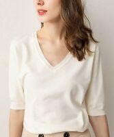 Lavidence Women's Half-Sleeve V-Neck Top (White, XL)