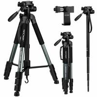 "K&F Concept 70"" Portable Aluminum Camera Tripod Monopod Pan Head w/ Phone Clip"