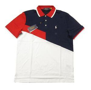Polo Ralph Lauren Men's Navy Multi Colorblock Soft Cotton POLO Tennis Polo Shirt