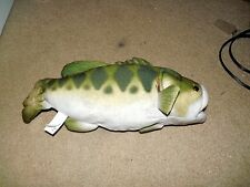 "WILDLIFE ARTISTS STUFFED LARGEMOUTH BASS FISH ANIMAL 14"" LONG USED GREEN"