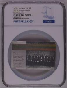 Lithuania 2020 Act of Independence 19.18E Silver Proof Coin LBCOIN NGC PF70 FR