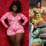 Womens Plus Size Jumpsuit Rompers Long Sleeve Playsuit Lips Clubwear Bodycon