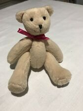 """AMERICAN GIRL Retired 2011 Plush Bitty Baby TEDDY BEAR 5"""" Jointed Bow Tag +3yrs"""