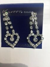 4 Cm Long  Diamanté Clip On  Earrings Party Bridal Xmas Gift  Shiny Zirconia