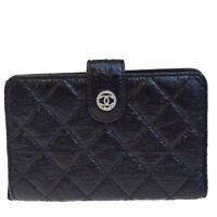 Authentic CHANEL CC Logos Quilted Bifold Wallet Purse Leather Black 62EC268