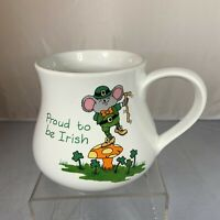 Vintage Russ Proud Irish Mug Cup Mouse Korea Mushroom Coffee Tea Shamrock Green