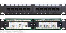 Cat6 UTP 12 Port Network Mini Patch Panel w/ Labeling, 1u 110 & Cable Management