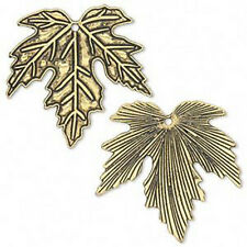 Maple Leaf Charms Pendants Antiqued Gold Jewelry Scrapbook Lot of 6
