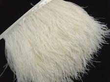 F101 PER 30cm Cream White Ostrich feather fringe Trim Brooch/Fascinator Material