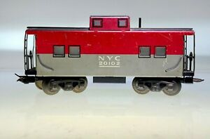 VINTAGE 1940'S LOUIS MARX CABOOSE NEW YORK CENTRAL BOX CAR TIN METAL (20102)