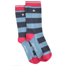 615fc85698beb ORIGINAL PENGUIN Womens Blue Red White Stripe Socks > One Size UK 4-8 EU