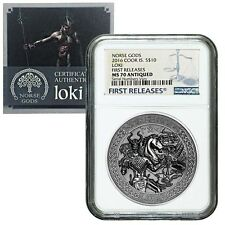 2016 2 oz Cook Islands Silver Norse Gods Loki Ultra High Relief NGC MS 70 Antiqu