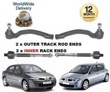 FOR RENAULT MEGANE 2003-2008 2x INNER & 2x OUTER STEERING TRACK RACK TIE ROD END