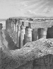 EGYPT Temple of Osiris at ABydos Ruins - 1860 SCARCE Engraving Print