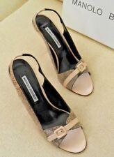 Manolo Blahnik Beige Leather/Snakeskin Peep Toe Buckle Slingback Sandals 39.5