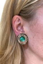 Stunning! 18K Gold Glowing Colombian Emerald and Diamond Edwardian Earrings