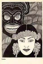 "1944 Original Don Blanding Art Deco Vintage Print ""Luana"""