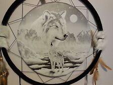 """DREAM CATCHER WOLF 24"""" WHITE FEATHERS WESTERN HOME WALL DECOR BRAND NEW LARGE"""