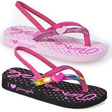 Infant Girls Sandals Flip Flops Summer Beach Casual Black Pink 6,7,8,9,10,11,12