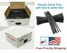 """New ULINE 2000 BLACK 4"""" Plastic Twist Ties gift ties cable ties - S-566BL"""